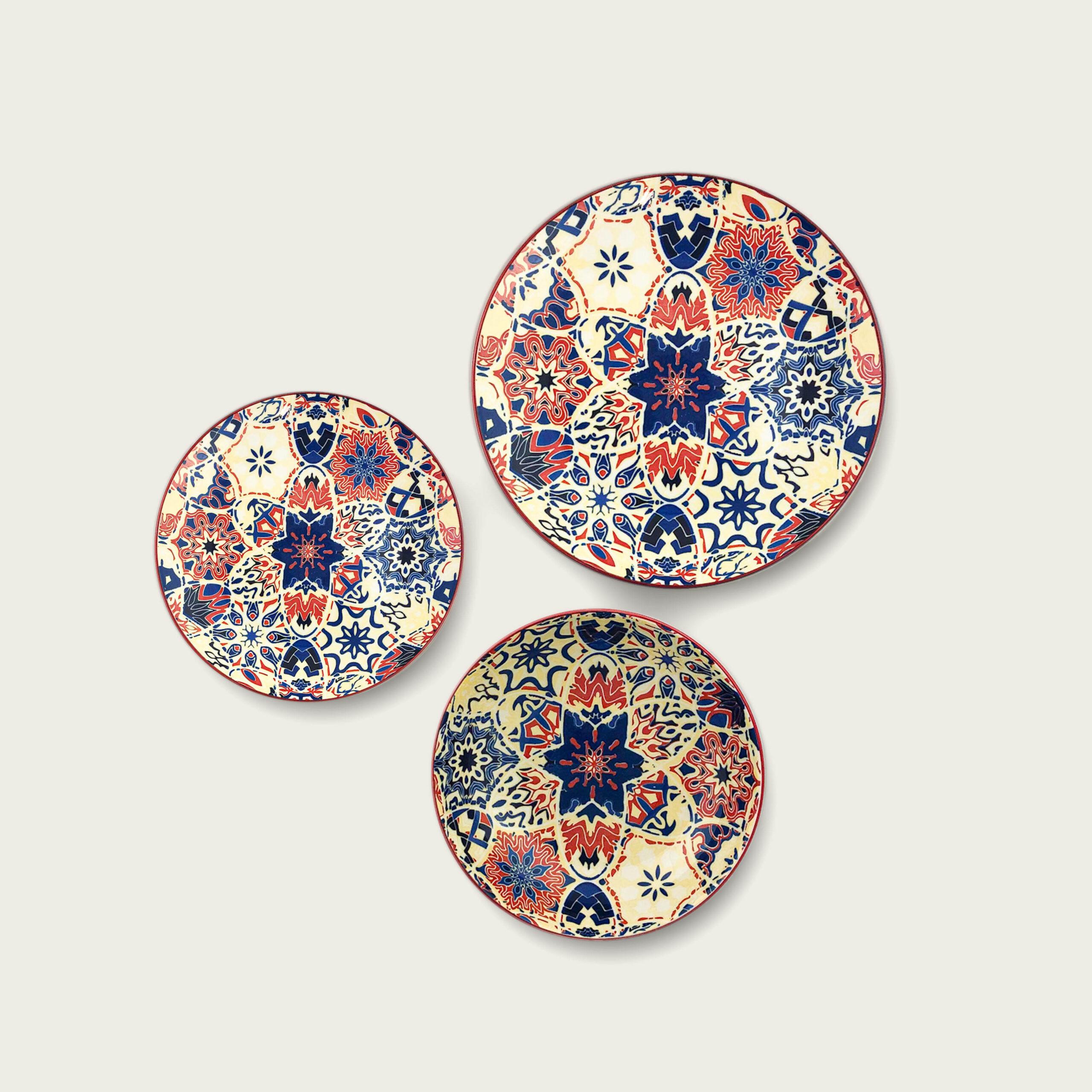 Kyoto piatto in porcellana - decoro fiore blu