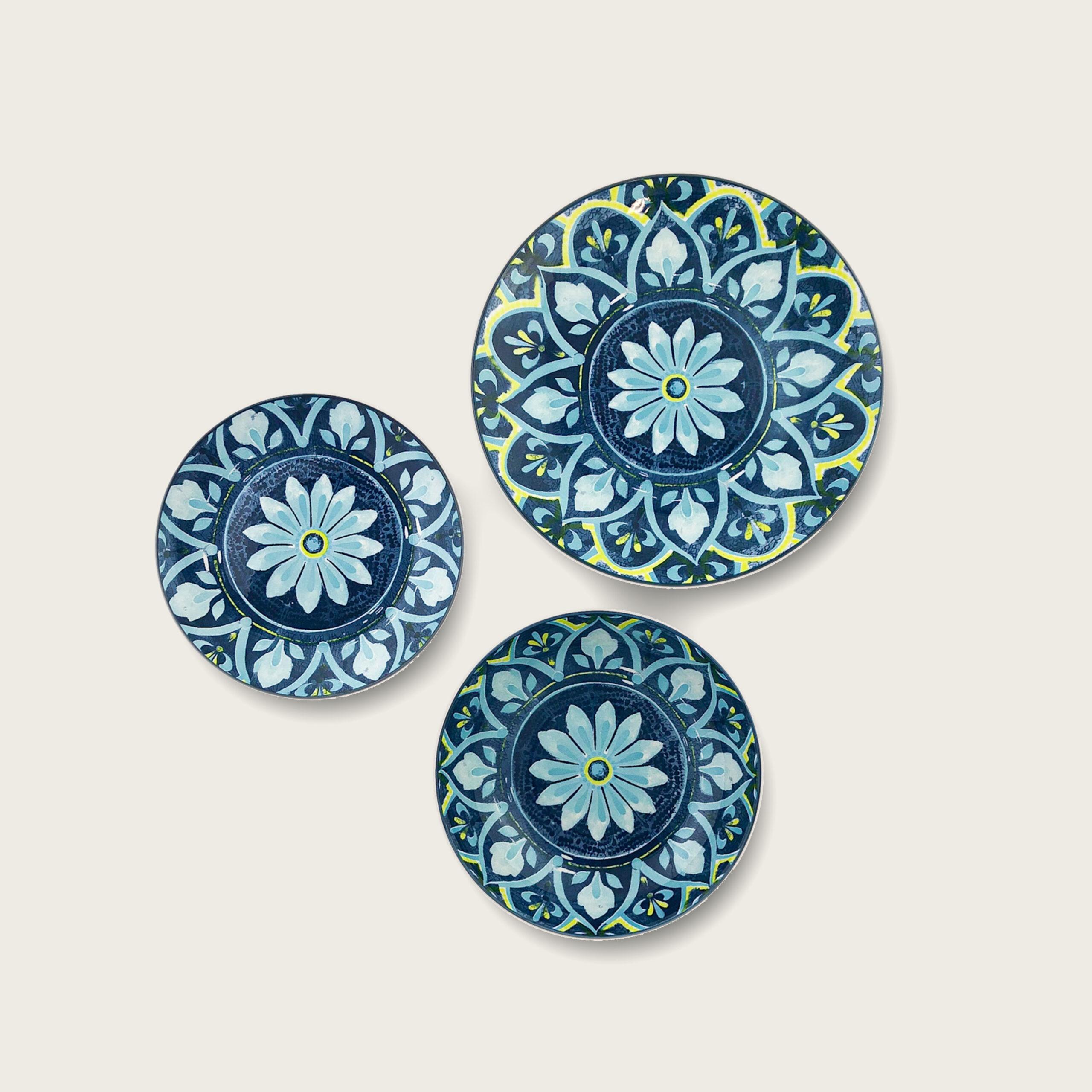 Kyoto summer piatti in porcellana decoro fiore azzurro