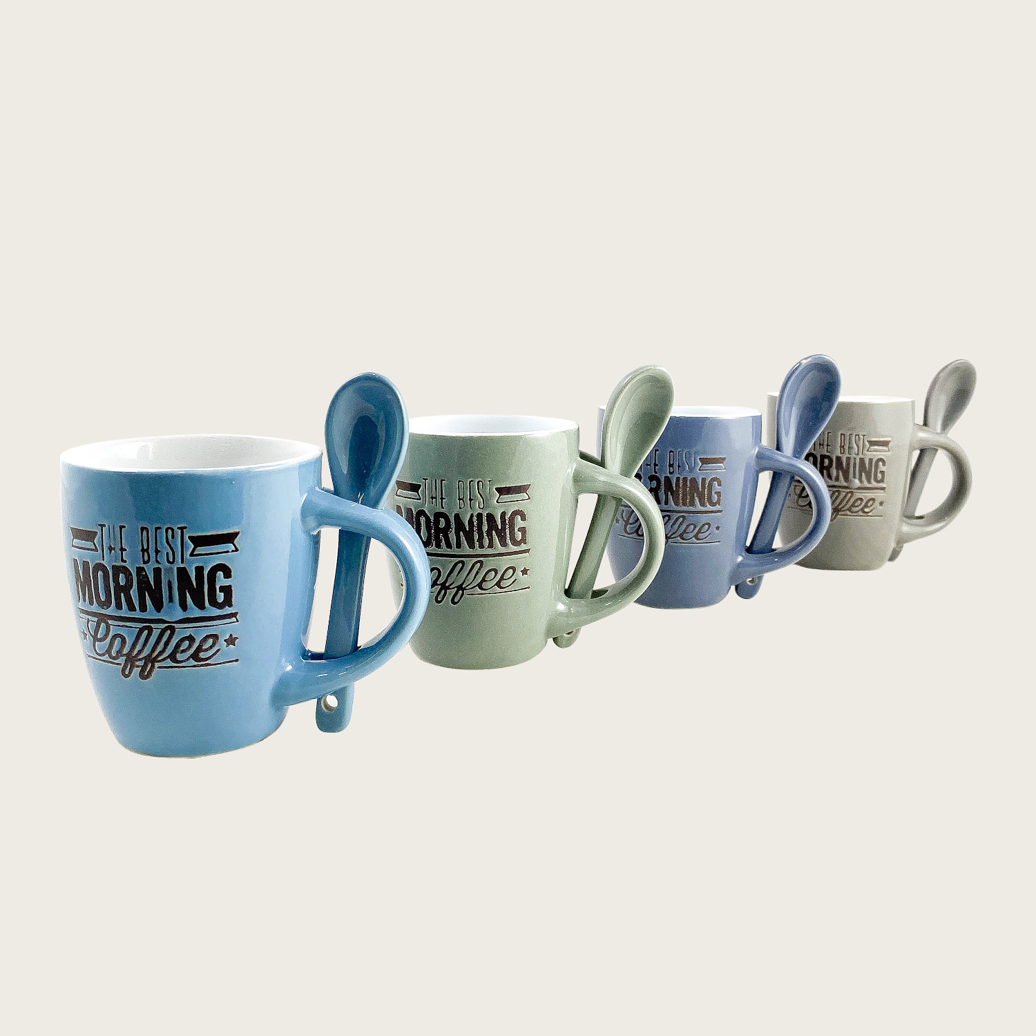Set 4 tazzine caffe' con cucchiaino ceramica - the best morning coffee