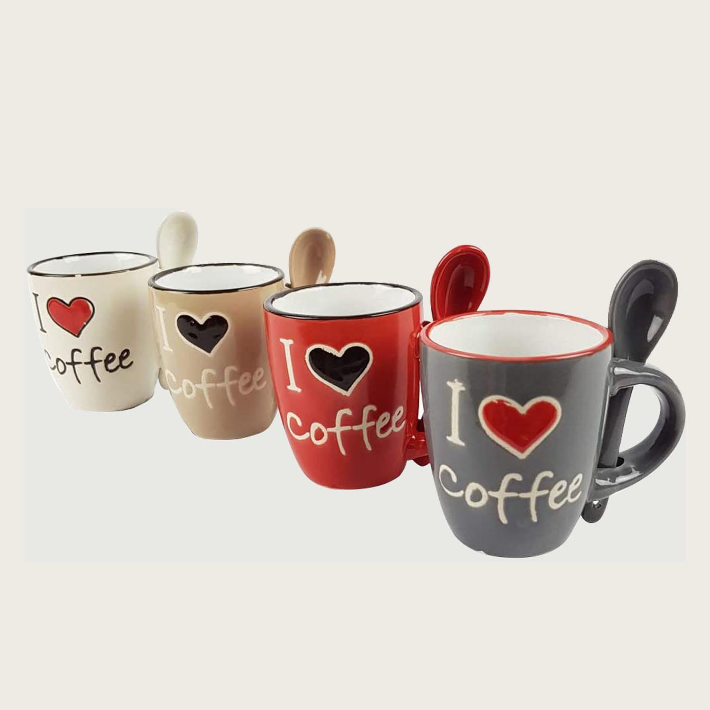 SET 4 TAZZINE CAFFE' CON CUCCHIAINO IN CERAMICA - I LOVE COFFEE