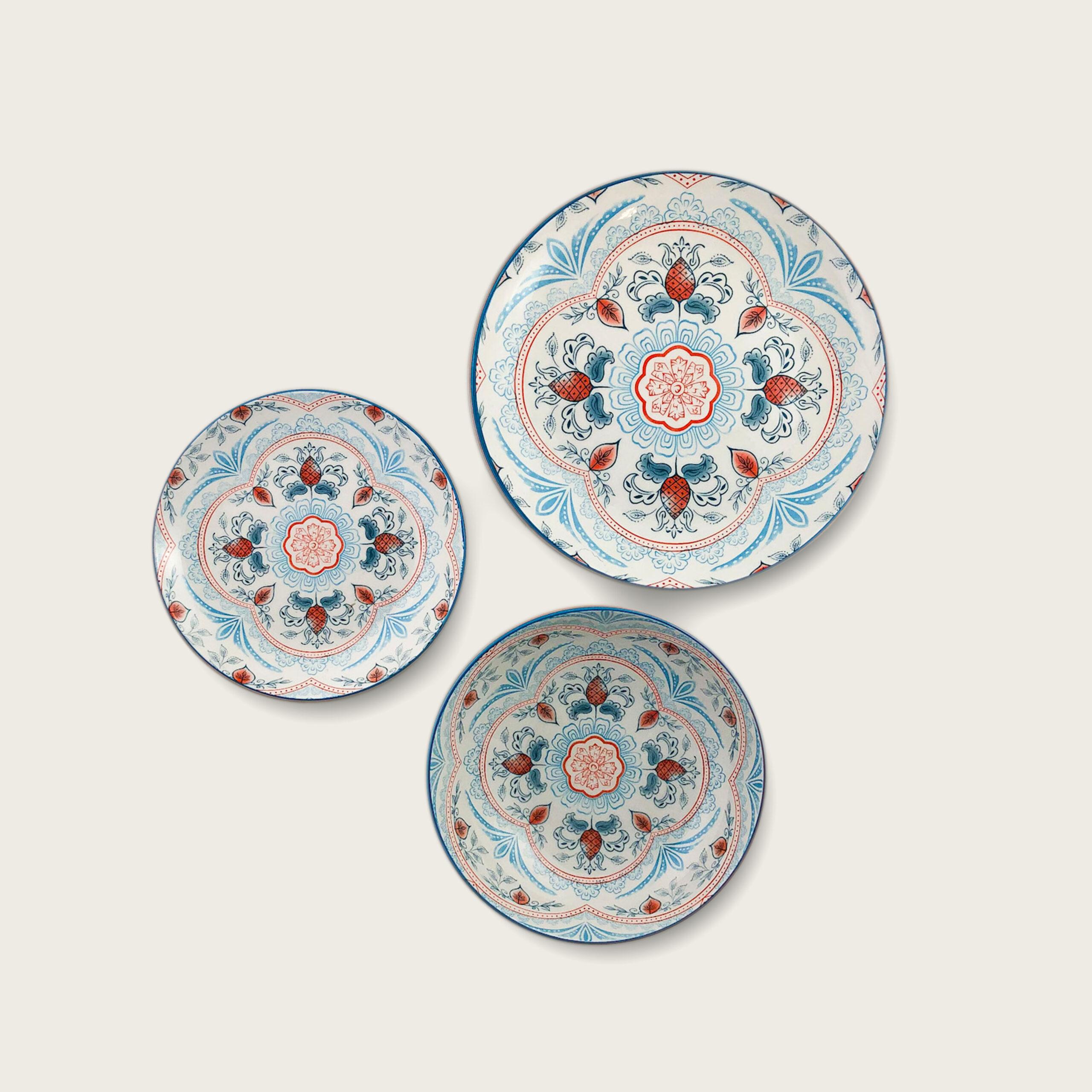 Kyoto piatto in porcellana - decoro floreale - salmone azzurro