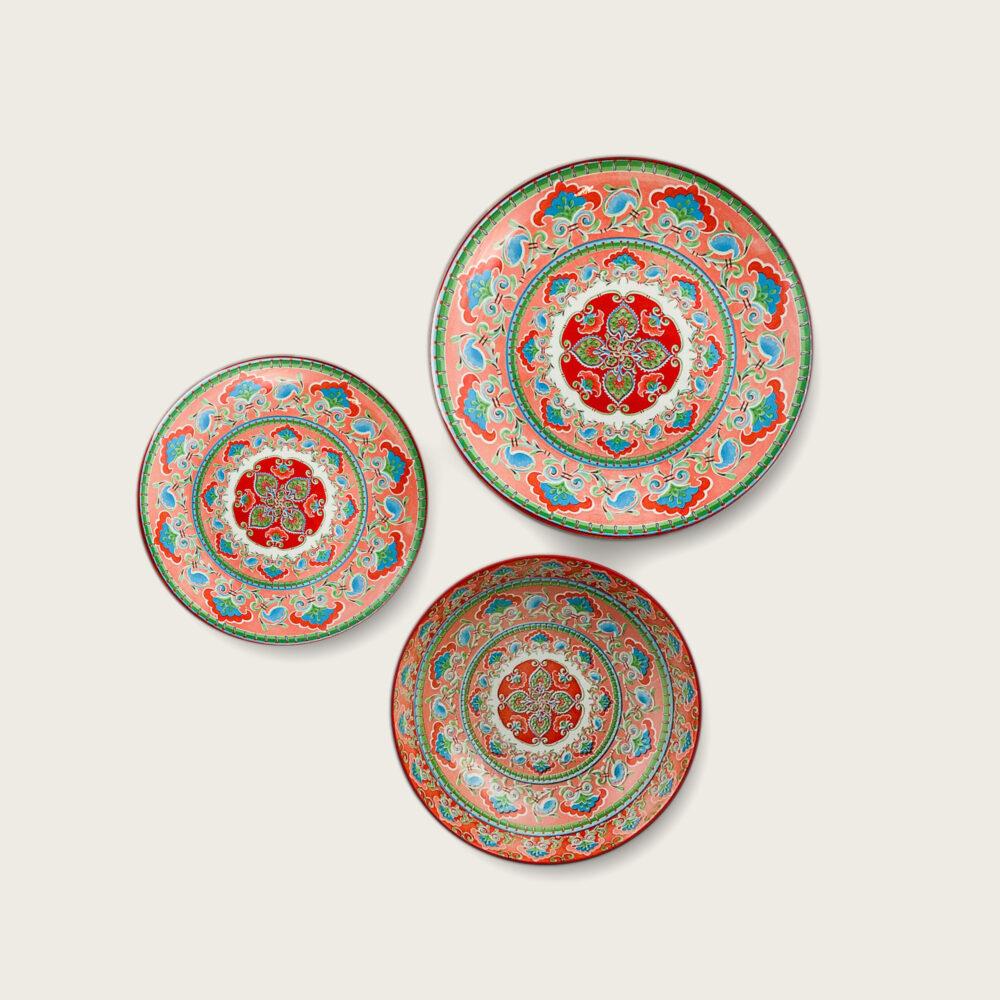 Kyoto piatto in porcellana - decoro rosso-verde-blu