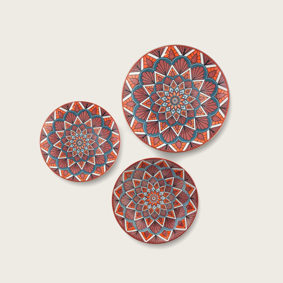 Kyoto summer piatti in porcellana decoro fiore geometrico arancione-petrolio