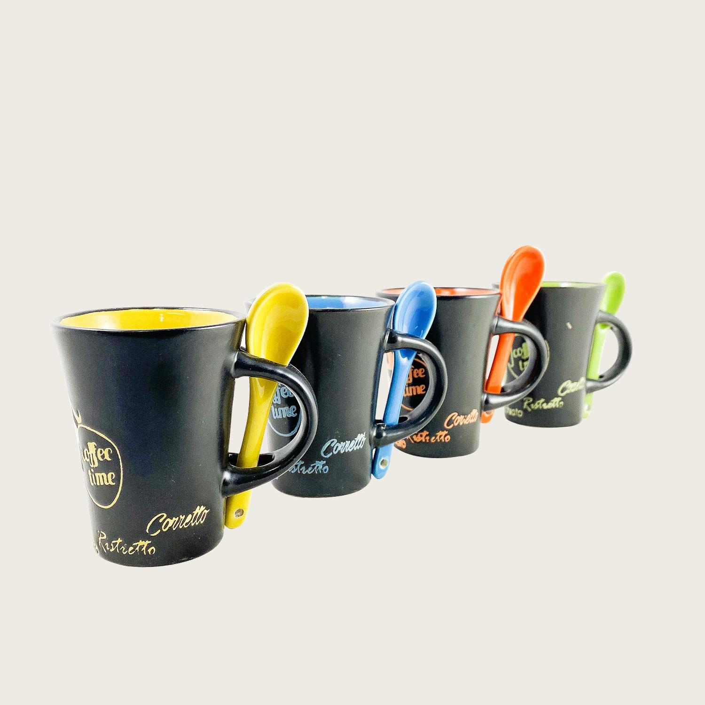 Set 4 tazzine caffè con cucchiaino in ceramica - coffee time