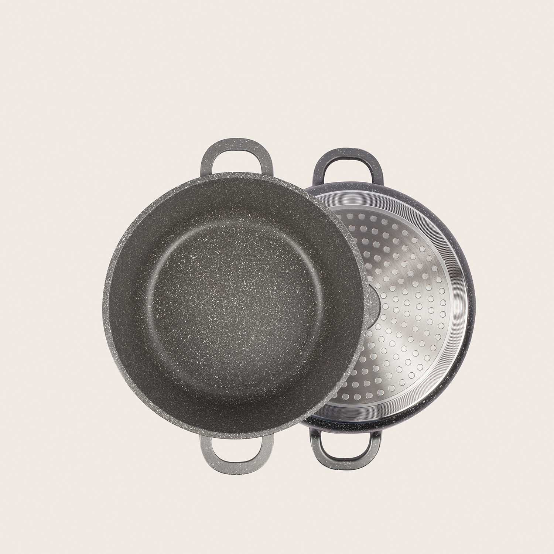 Casseruola pietra rovente - alluminio pressofuso con coperchio