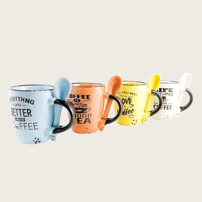 Set 4 tazzine caffe' con cucchiaino in ceramica
