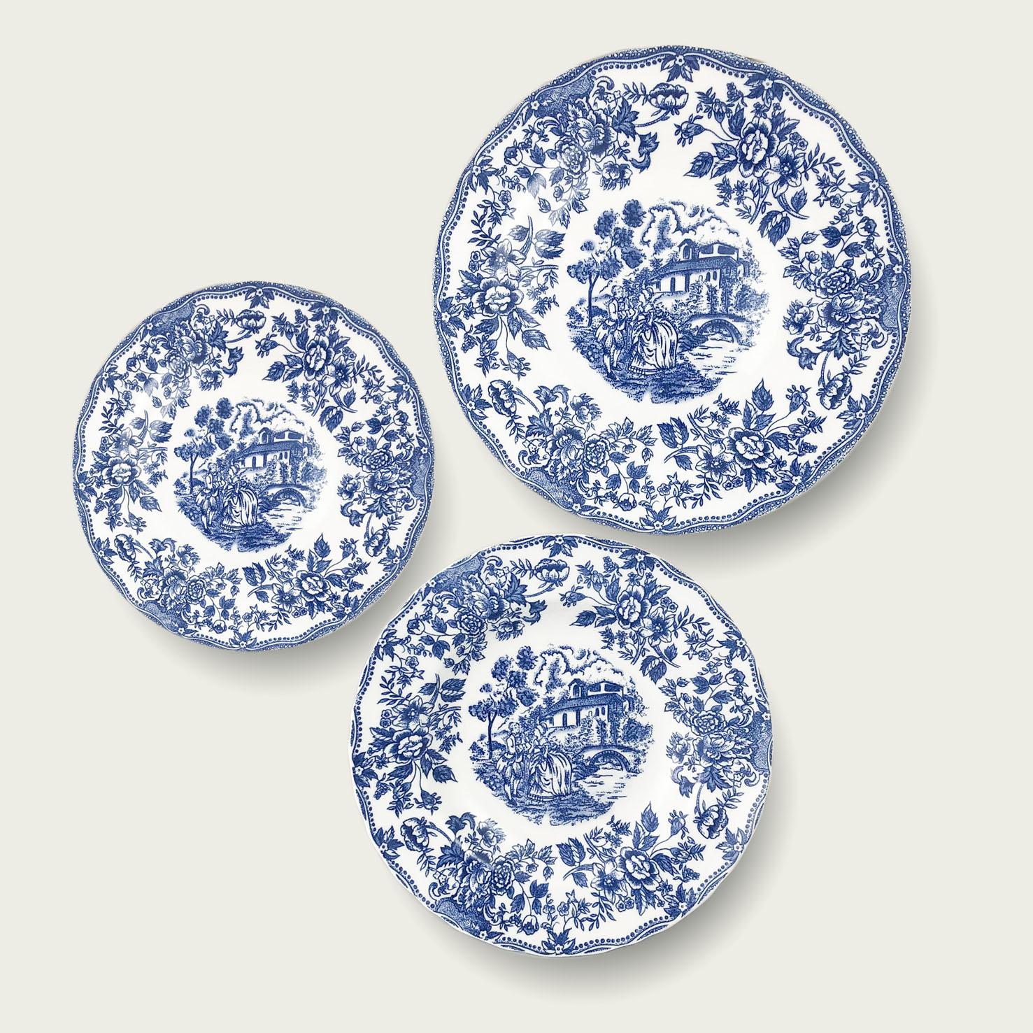 Piatto in porcellana - forma tradizionale - linea inglese blu