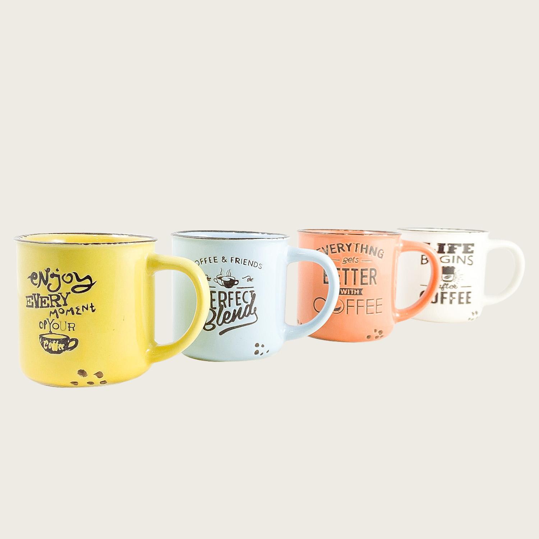 Set 4 tazzine caffe' in ceramica 10cl
