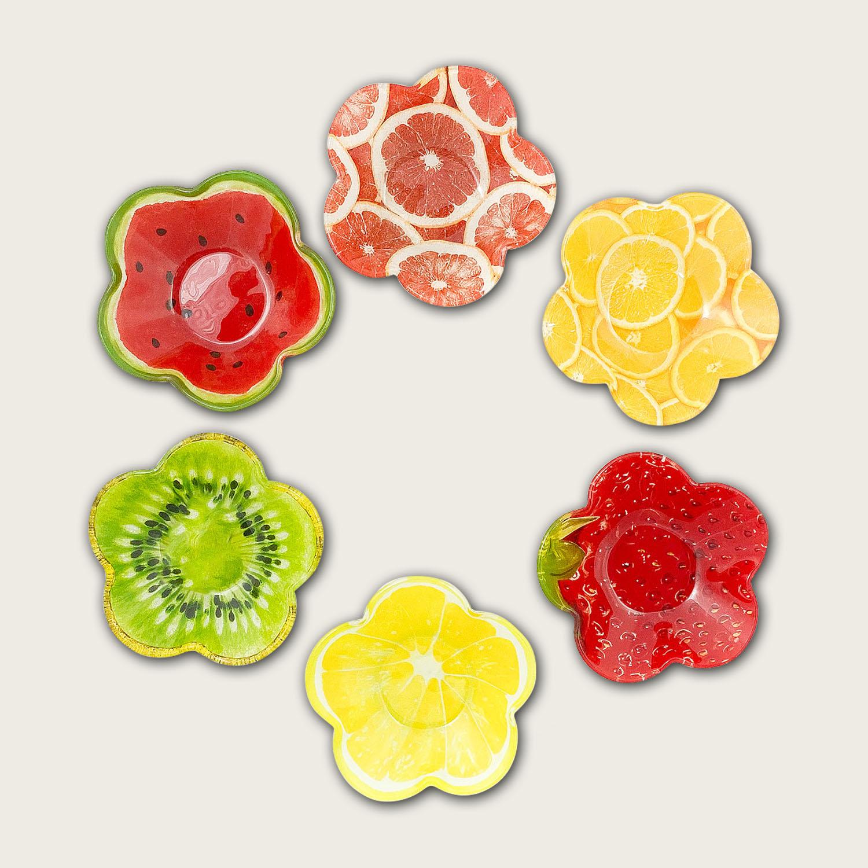 Ciotola in vetro cm.11.5x11.5 - fantasia frutta