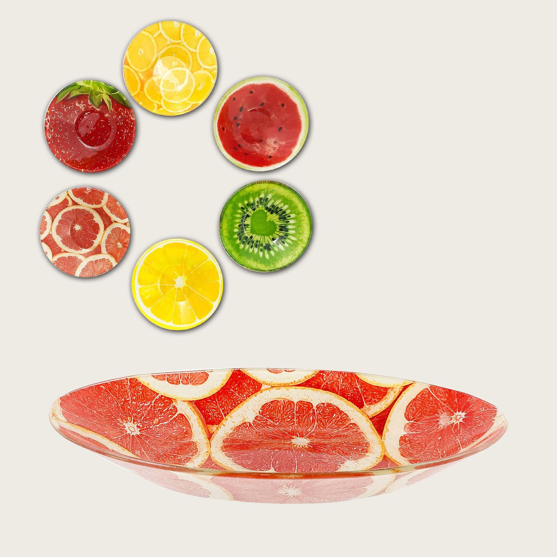 Ciotola in vetro cm.12x12x3 - fantasia frutta