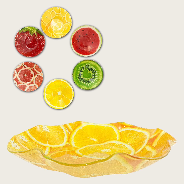 Ciotola forma fiore in vetro cm.28.5x28.5x4 - fantasia frutta