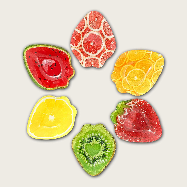 Ciotola in vetro cm.10.5x13x3 - fantasia frutta