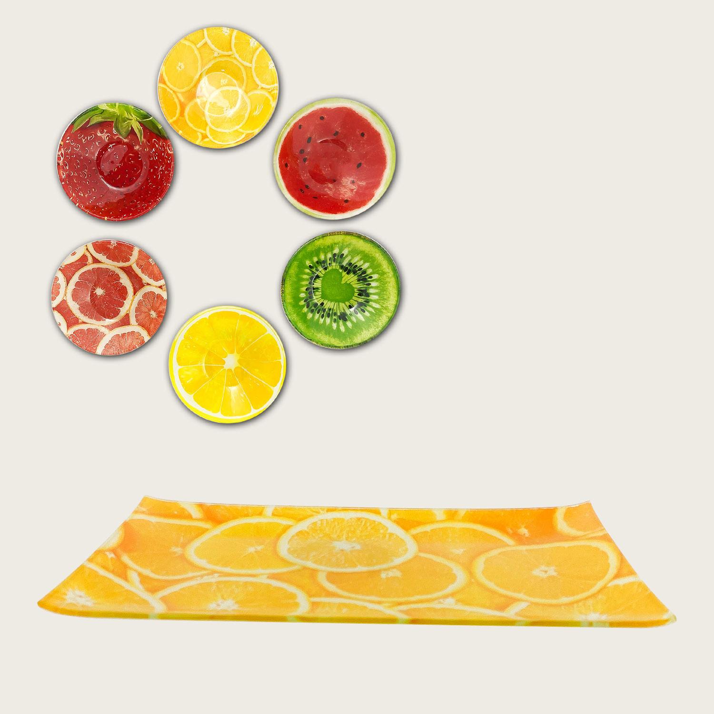Piatto quadrato in vetro cm.15x15 - fantasia frutta