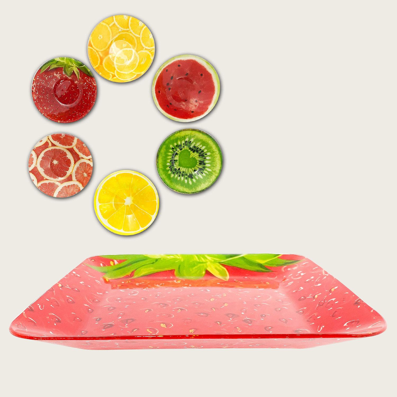 Piatto quadrato in vetro cm.24x24 - fantasia frutta