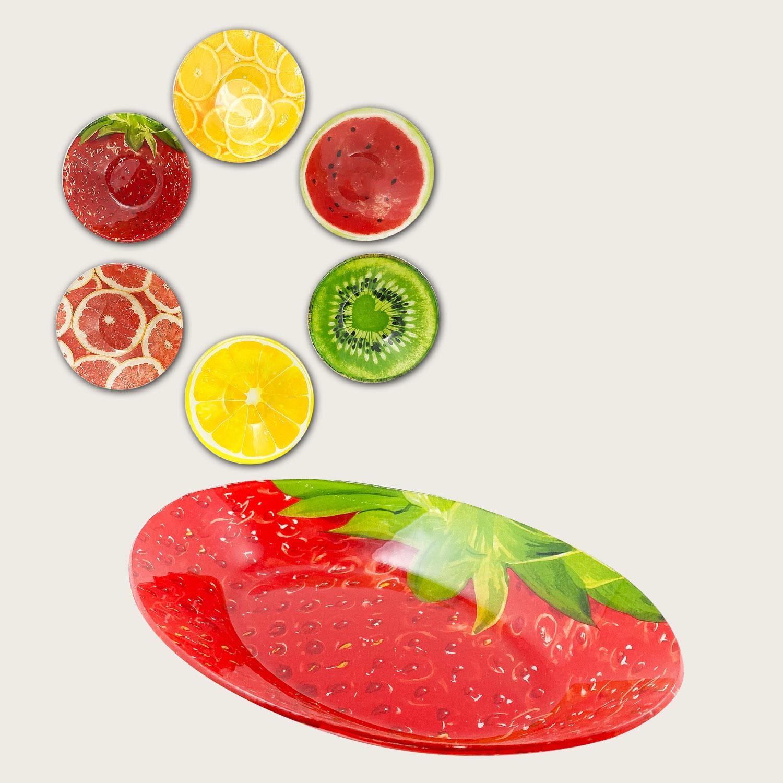 Piatto ovale in vetro cm.26x18 - fantasia frutta