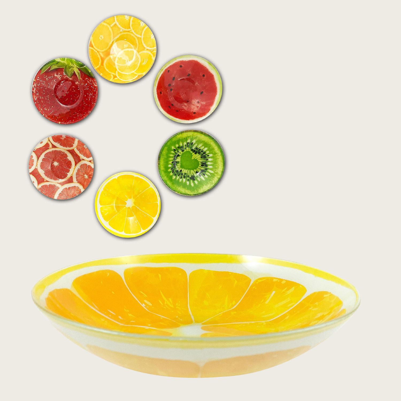 Ciotola tonda in vetro cm.30 - fantasia frutta