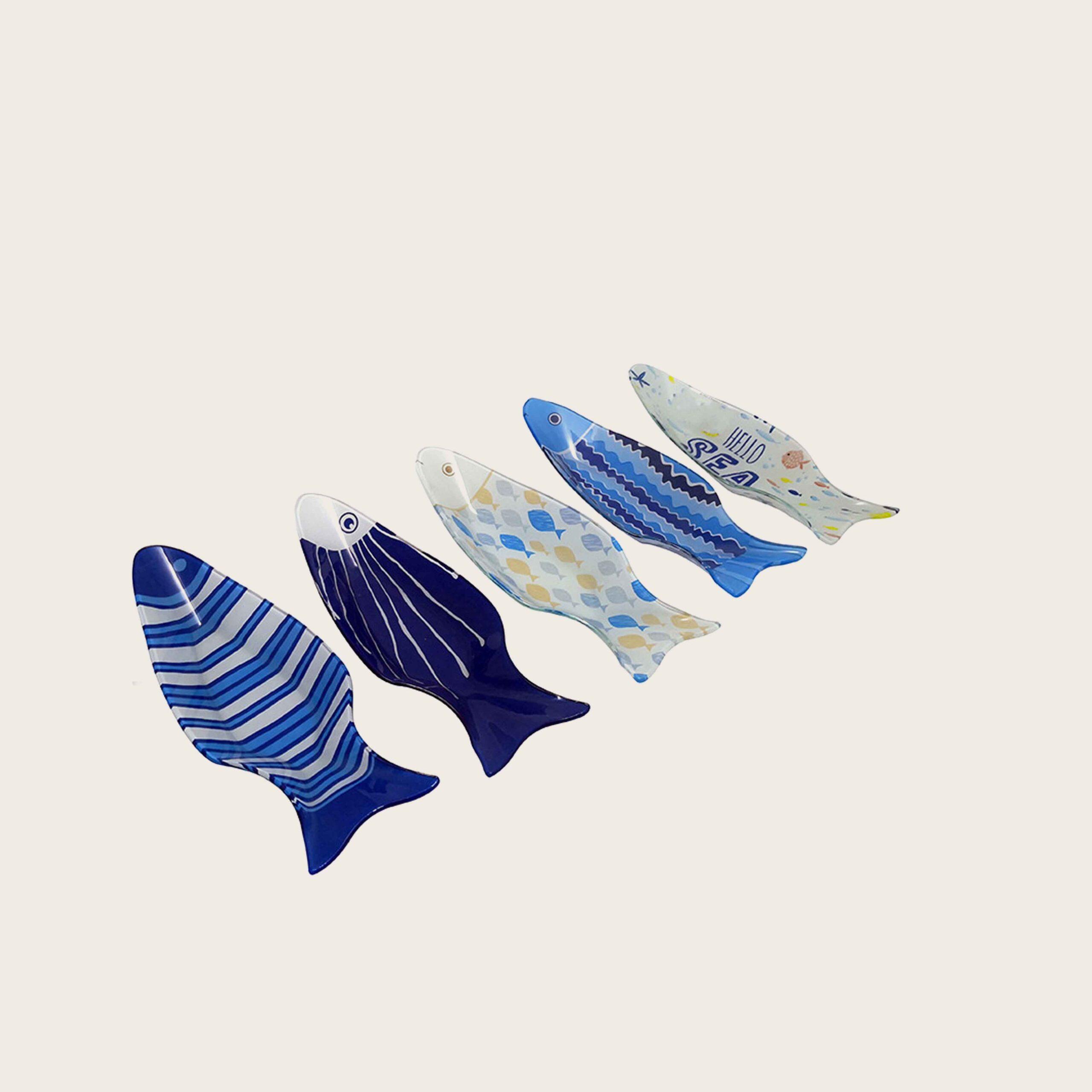 Ciotola forma pesce in vetro cm.9.5x26x3.5 - fantasia fish