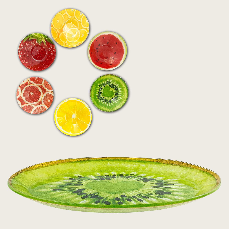 Ovale basso in vetro - fantasia frutta