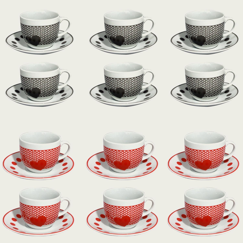 Set 6 tazzine da caffè in porcellana