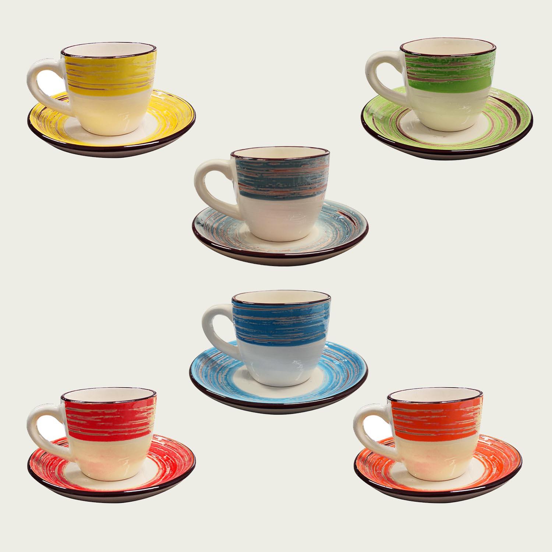 Set 6 tazzine da caffè con piatto in ceramica