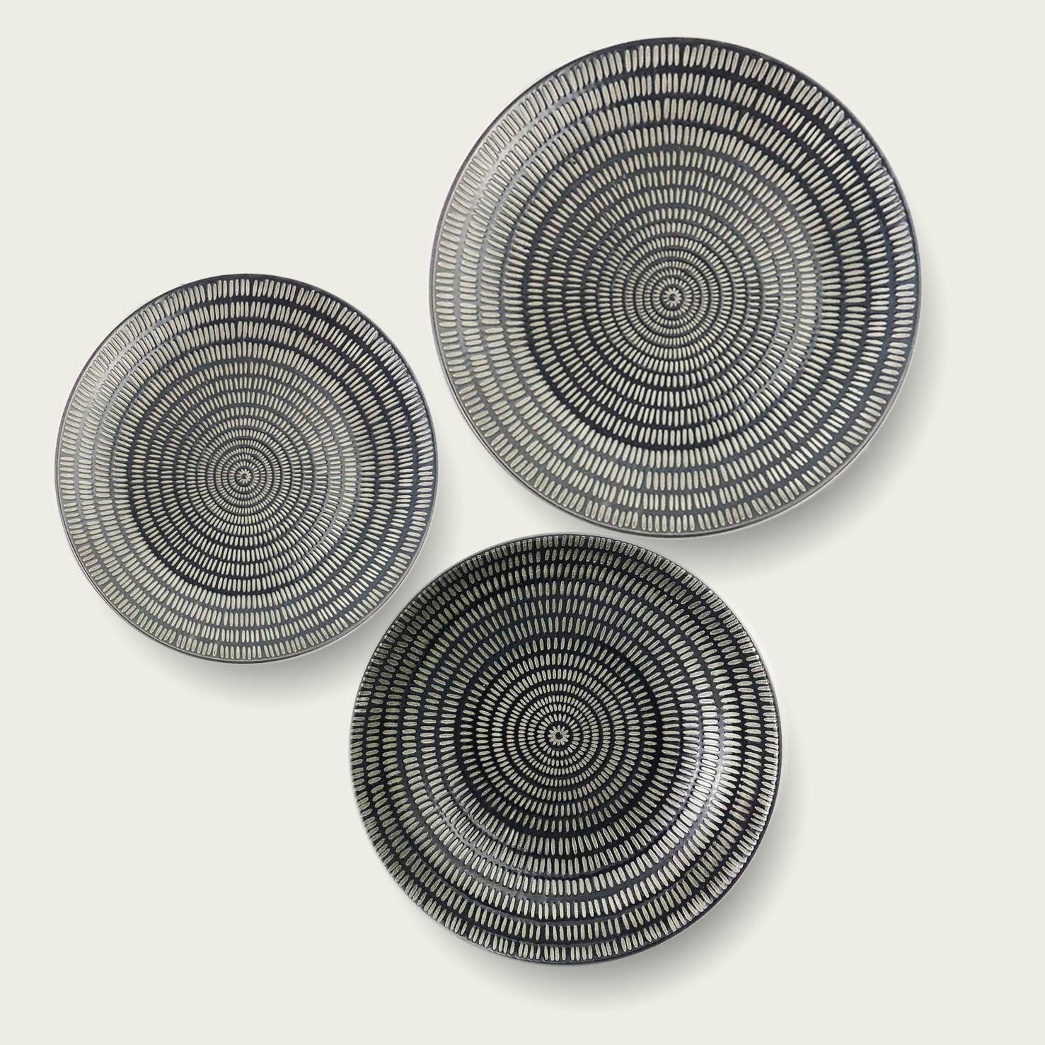 Servizio 18 piatti - cuerda seca ethinc chic-nero