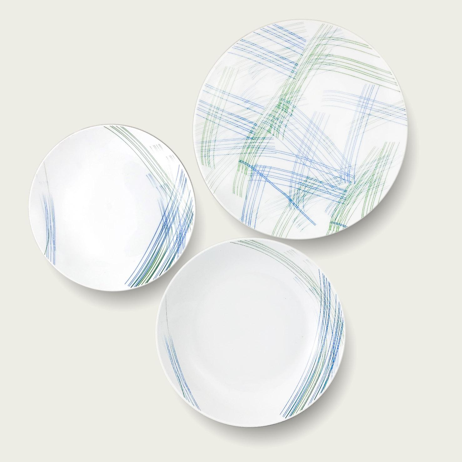Servizio 18 piatti scratch - verde e blu