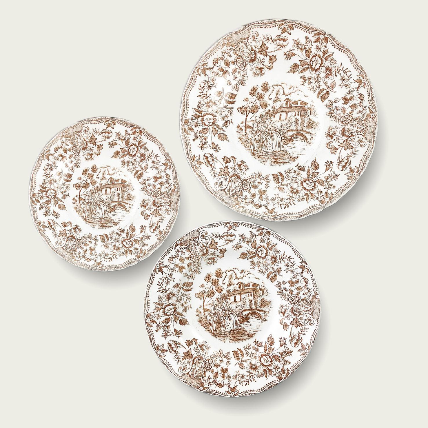Piatto in porcellana - forma tradizionale - linea inglese tortora