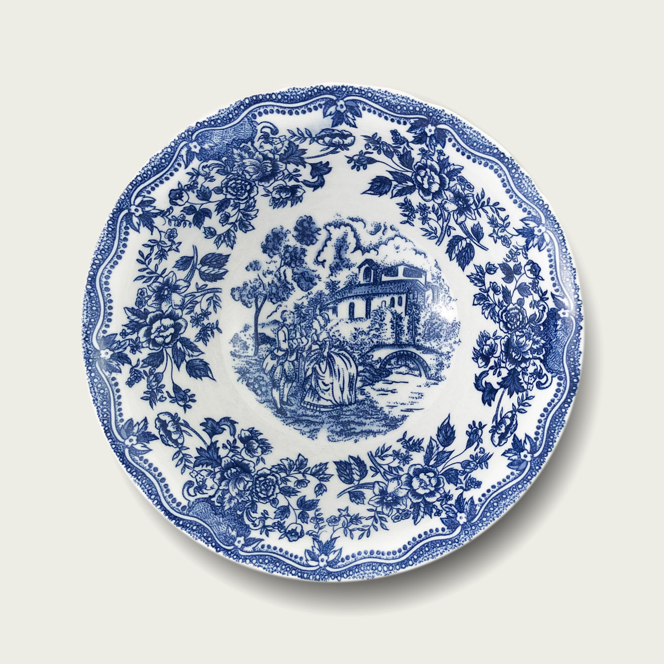 Ciotola in porcellana - fantasia inglese blu