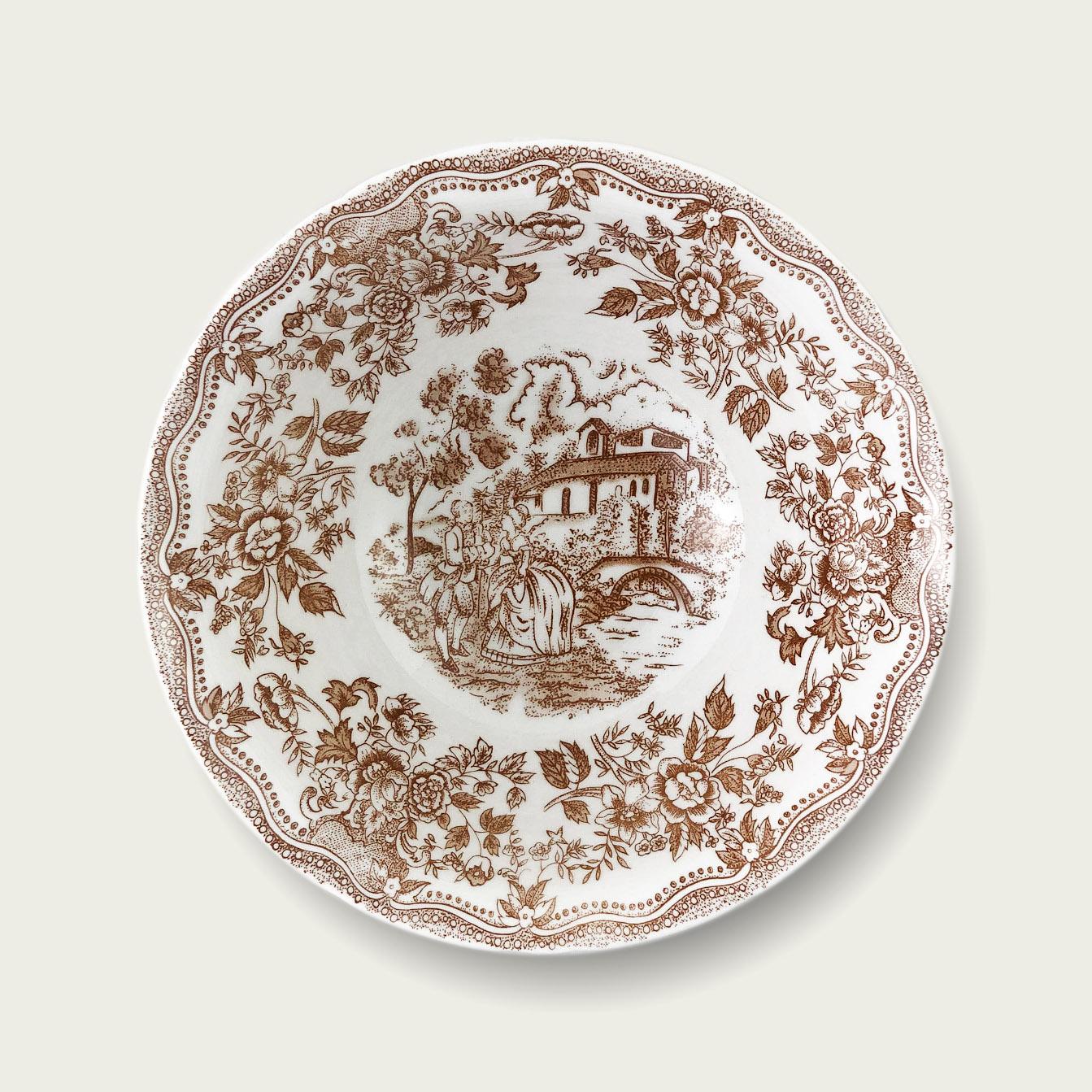 Ciotola in porcellana - fantasia inglese tortora