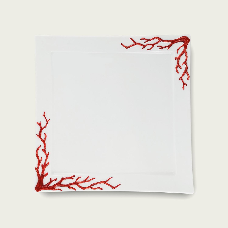 Piatto quadrato in porcellana - coral red