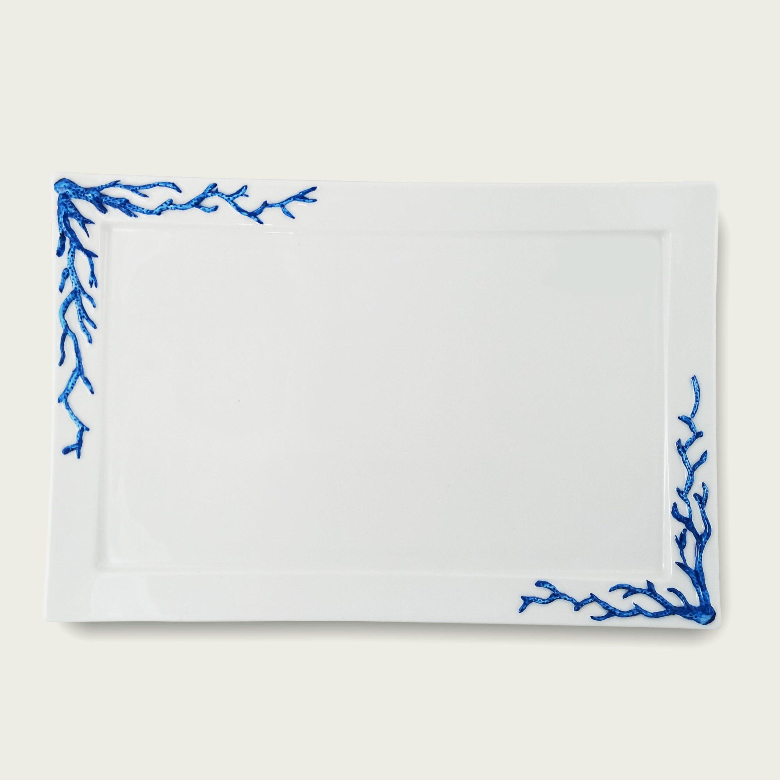 Vassoio rettangolare in porcellana - coral blu