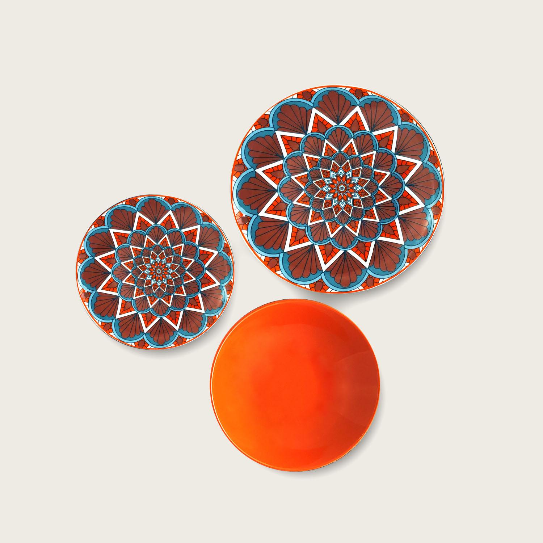Servizio 18 piatti - i coordinati in porcellana - red orange
