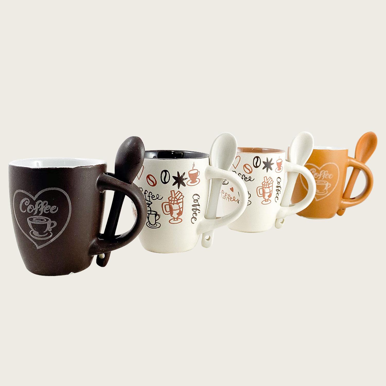 Set 4 tazzine caffe' con cucchiaino ceramica - coffee
