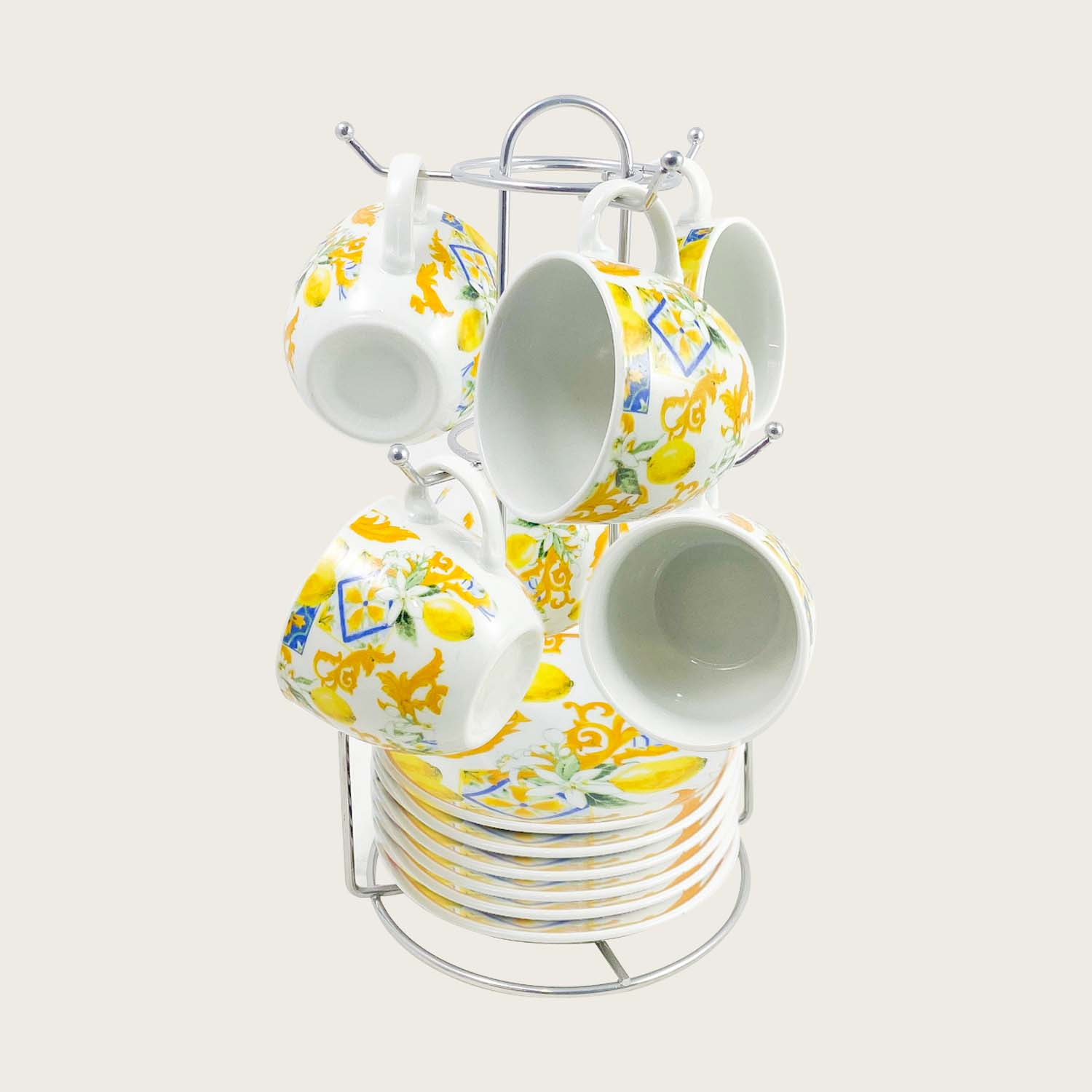 SET 6 TAZZE CAFFE' CON PIATTINO ED ESPOSITORE DECORO LEMON