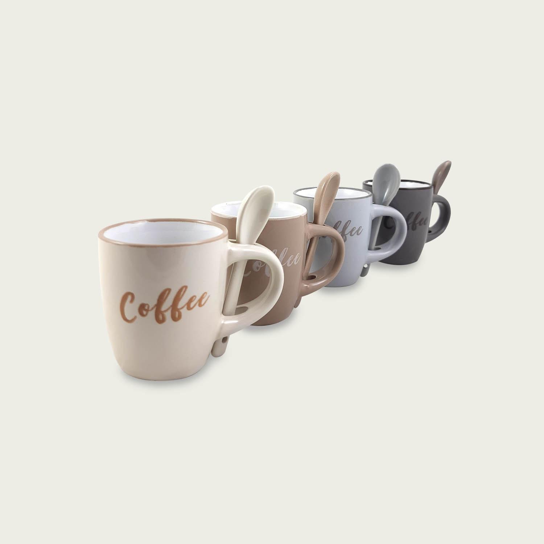 SET 4 TAZZE CAFFE' CON CUCCHIAINO DECORO COFFEE